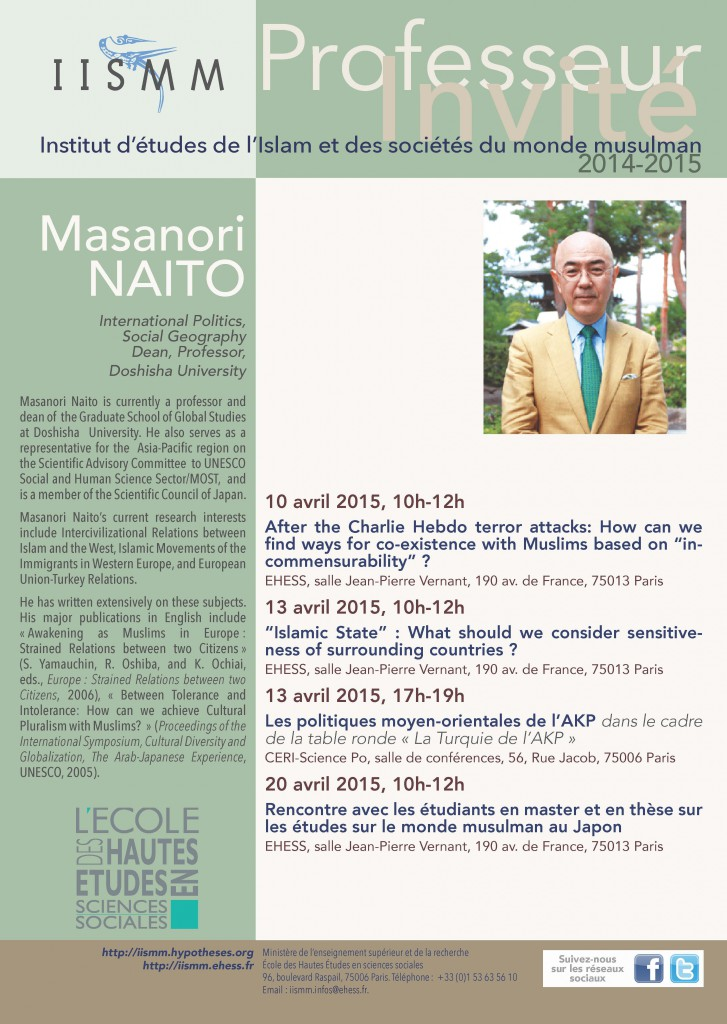 Masanori Naïto, Professor of International Politics and Social Georgraphy, Doshisha University, Japon — 10-20/04/2015